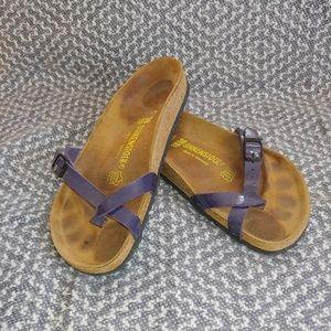 Birkenstock Piazza 38 Purple Toe Loop Sandals